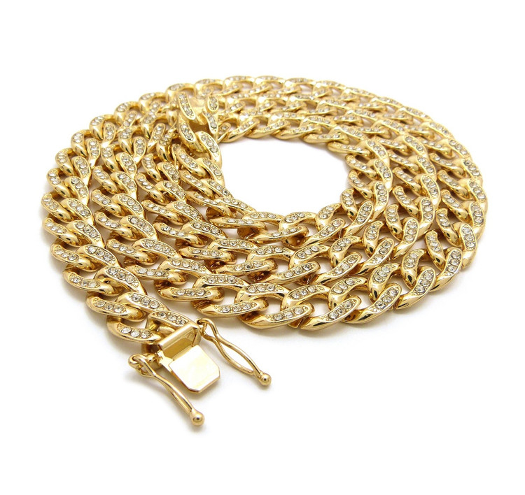 14k Gold Simulated Diamond Stone 10mm Cuban Link Chain