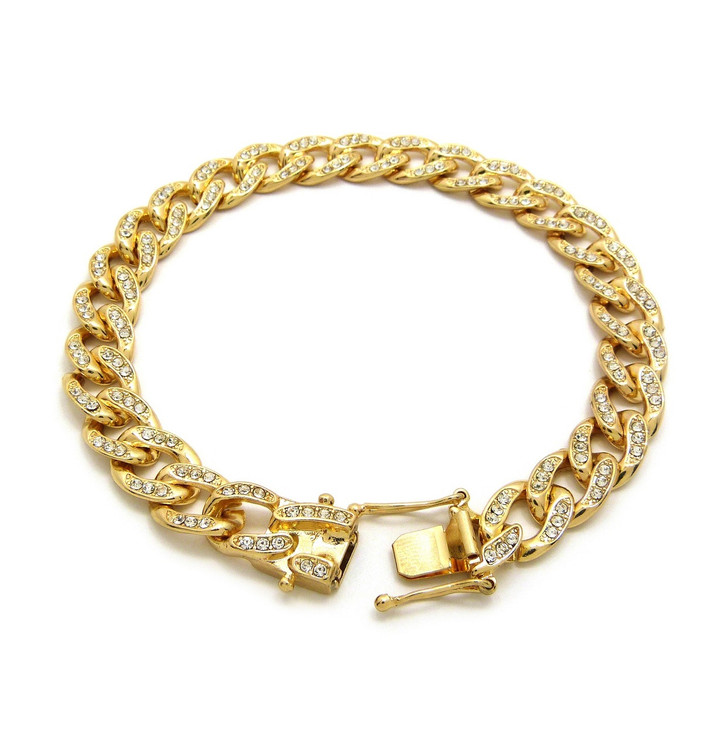 Iced Out Simulated Diamond Cuban Link Bracelet Gold