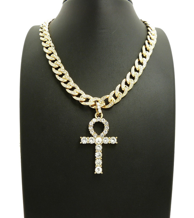 Iced Out Simulated Diamond Ankh Cross