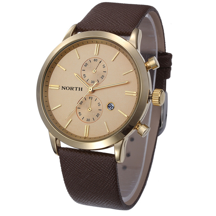 Gold Accented Sleek Street Men's Casual Wrist Watch