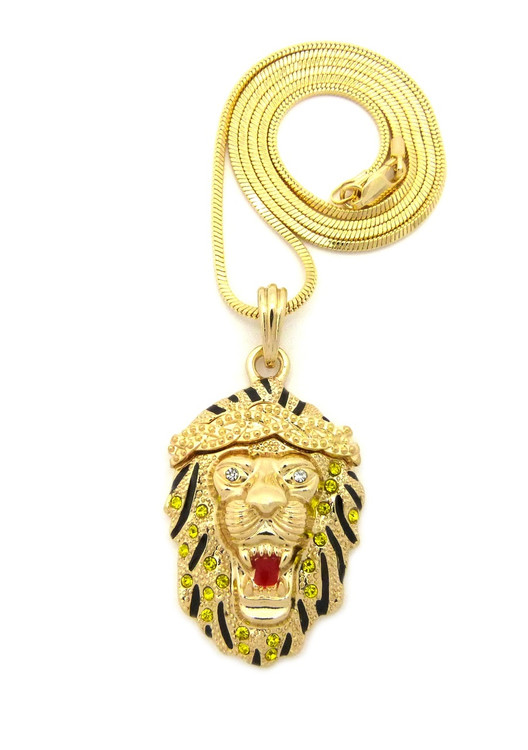 14k Celebrity Inspired Hip Hop Lion Head Snake Chain Pendant