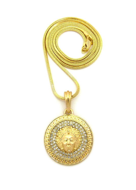 14k Gold Simulated Diamond Medusa Illuminati Hip Hop Chain