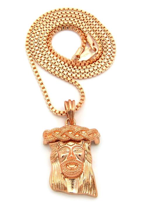 Rose Gold Jesus Piece Hip Hop Chain Pendant