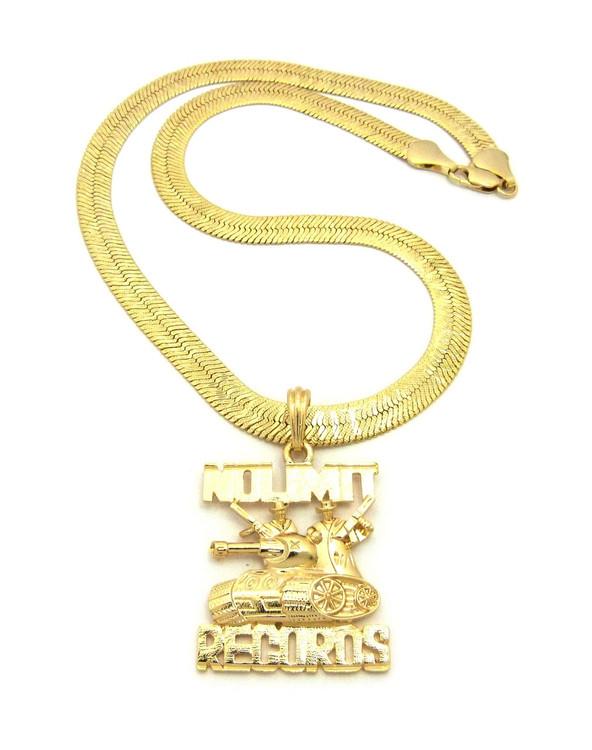 Hip Hop 14k Gold No Limit Herringbone Chain Pendant