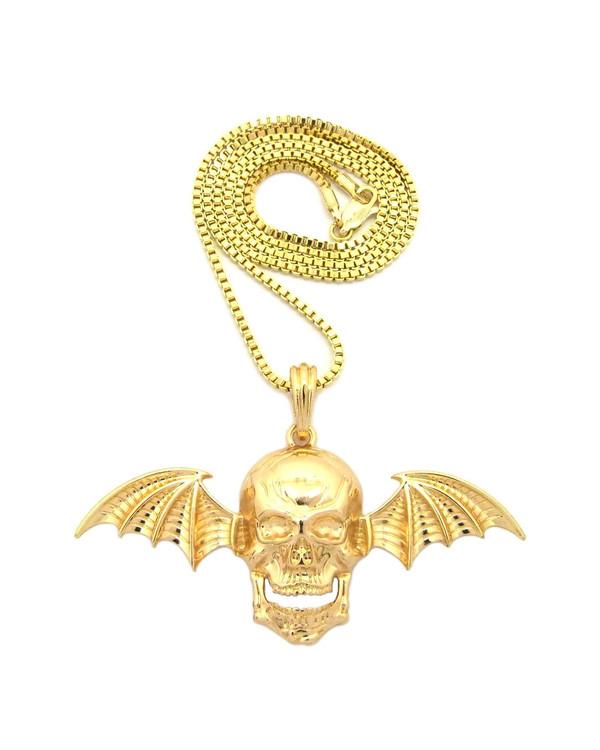 Skull Bat Wings Hip Hop Pendant 14k Gold Chain Necklace