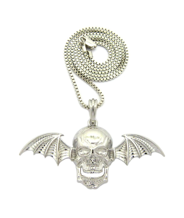 Skull Bat Wings Hip Hop Pendant .925 Silver Chain Necklace