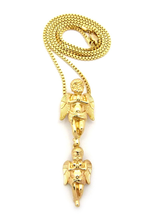 Double Praying Cherub Angel 14k Gold Dangling Pendant Chain