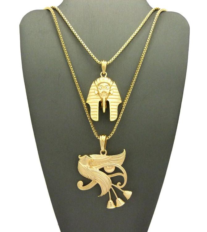 14k Gold Eye Of Horus Falcon King Tut Ancient Egyptian Pendant
