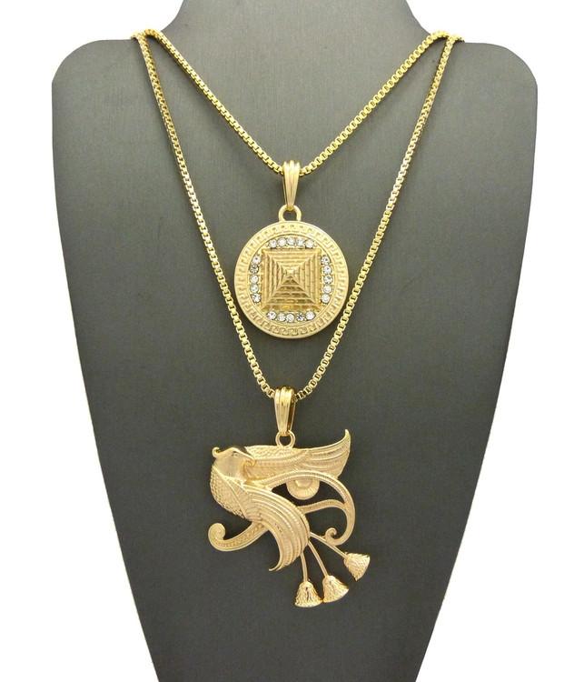 14k Gold Eye Of Horus Falcon Pyramid of Khafre Egyptian Chain