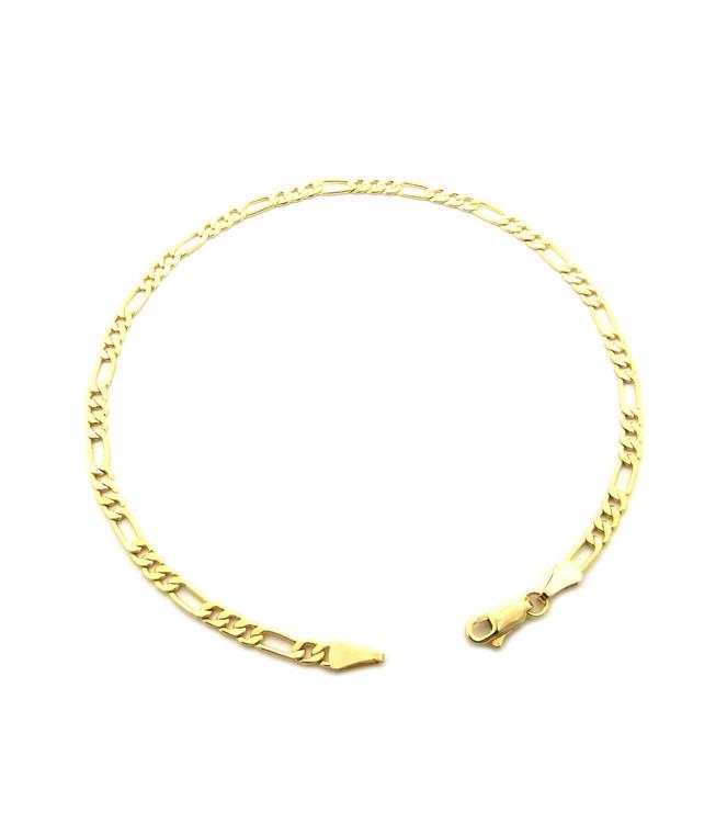14k Gold 3.4mm Feminine Figaro Link Ankle Bracelet