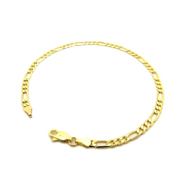 14k Gold 4.4mm Feminine Figaro Link Ankle Bracelet