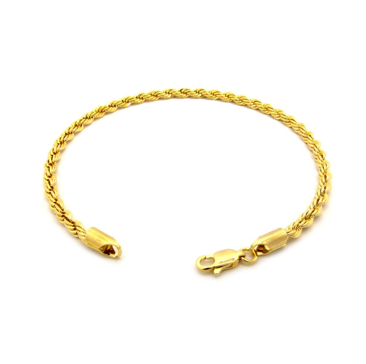14k Gold 4mm Rope Link Ankle Bracelet