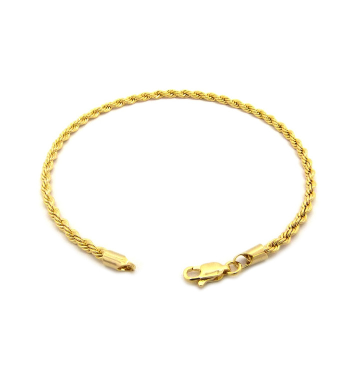 14k Gold 3mm Rope Link Ankle Bracelet