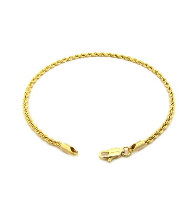 14k Gold 2.5mm Rope Link Ankle Bracelet