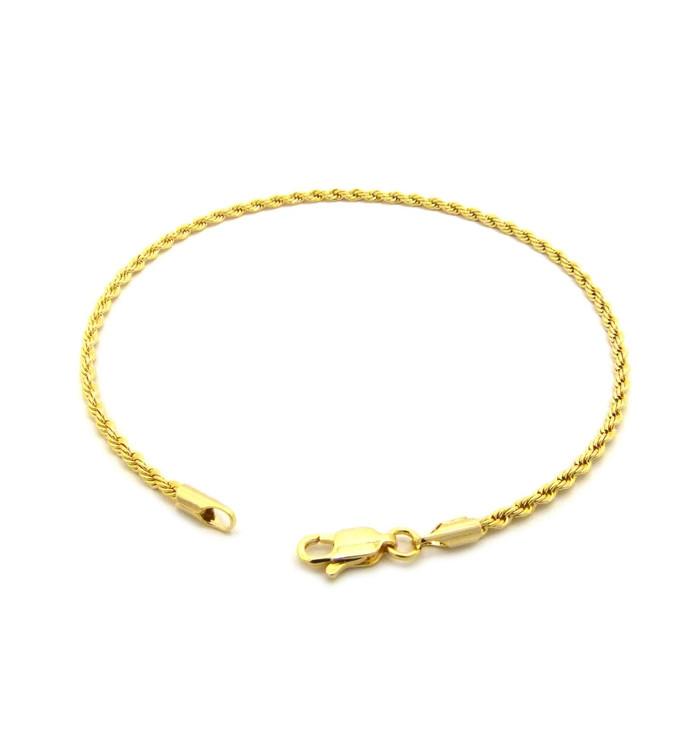14k Gold 2mm Rope Link Ankle Bracelet