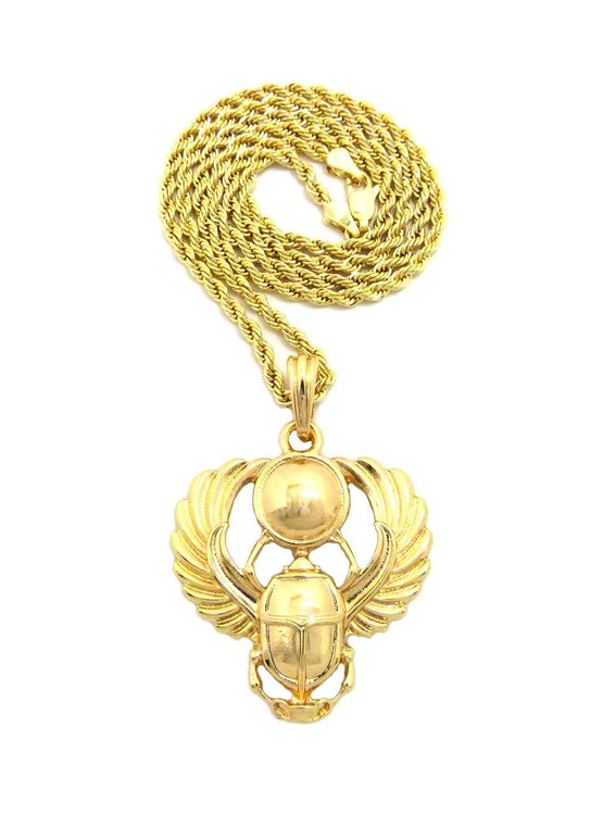 14k Gold Winged Scarab Rebirth Ancient Egyptian Pendant