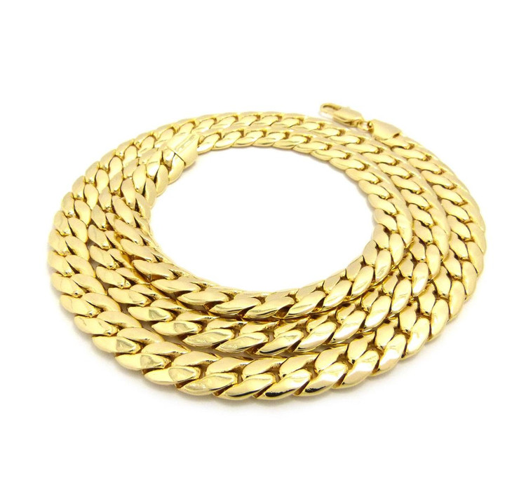 14k Gold 9.5mm Miami Cuban Link Hip Hop Chain Necklace