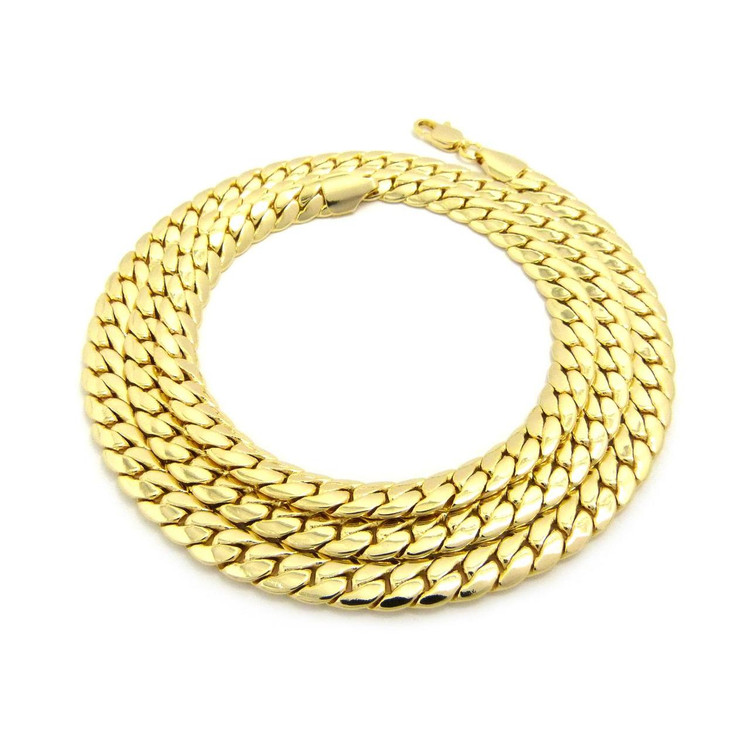 14k Gold 8mm Miami Cuban Link Hip Hop Chain Necklace