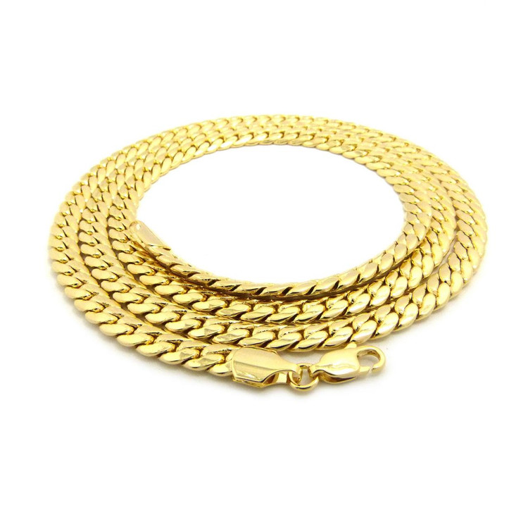 14k Gold 6mm Miami Cuban Link Hip Hop Chain Necklace