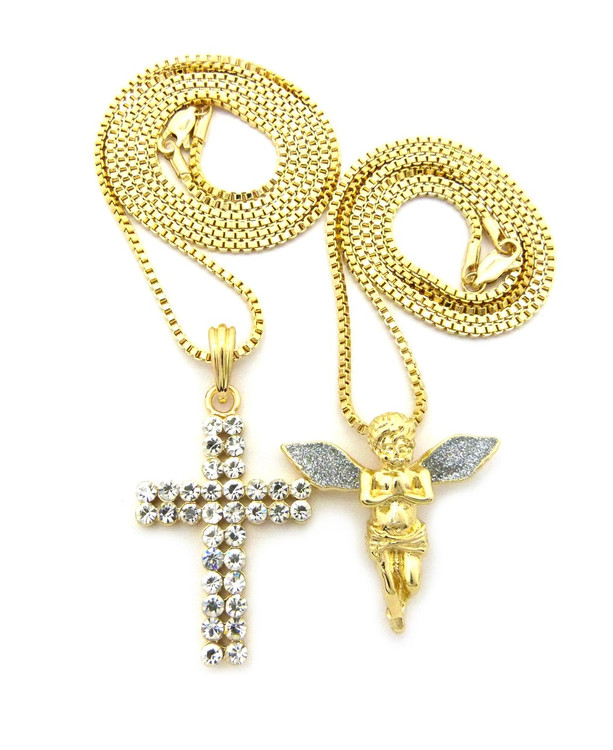 Crushed Ice Angel Wings Double Iced Out Cross Pendant