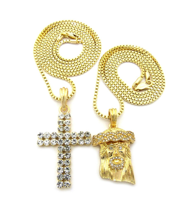 Iced Out Jesus Piece Double Cross Hip Hop Chain Pendant