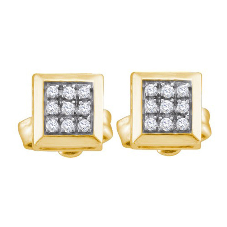 Iced Out 925 YP 0.05Ct Diamond Micro Pave Sterling Silver Earrings