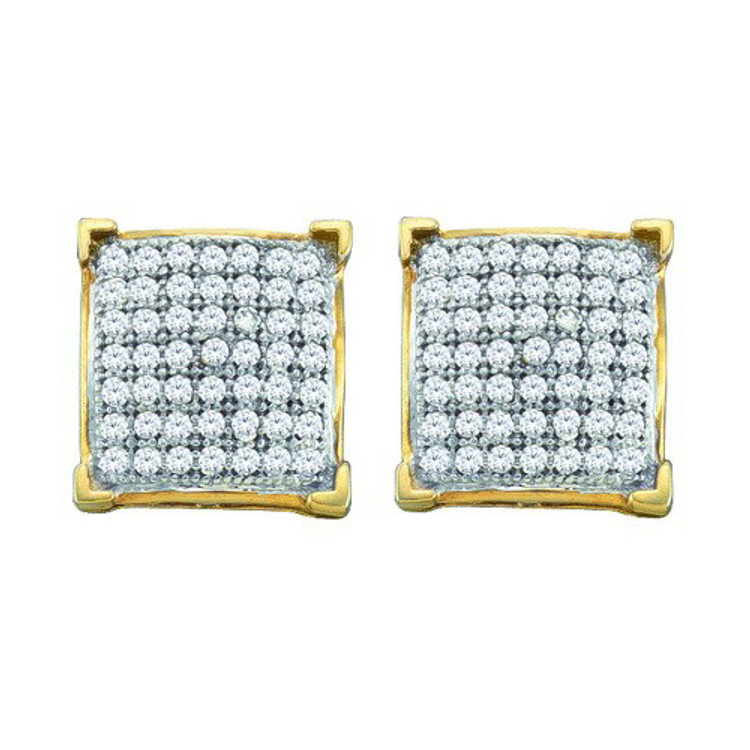 Hip Hop 10k Yellow Gold 0.05Ct-Bling Diamond Micro-Pave Earrings