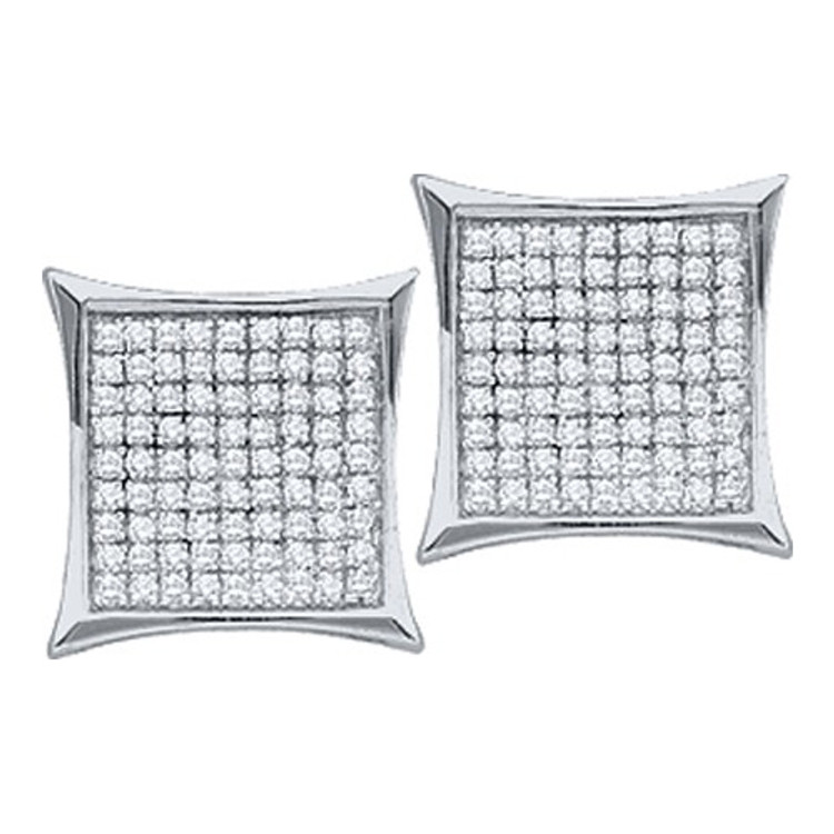 10k White Gold 0.15Ctw Round Diamond Micro Pave Iced Out Earrings