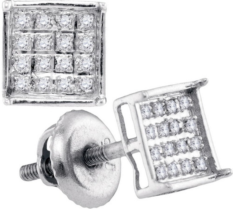 Iced Out Crown Studs 925 0.10Ctw Diamond Micro-Pave Earrings