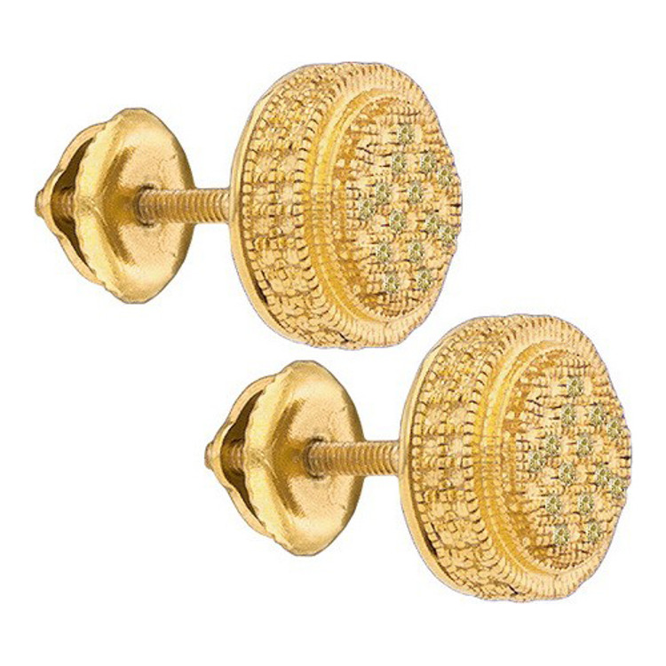Hip Hop Bling 925 YP 0.09Ctw-Diamond Micro-Pave Earrings