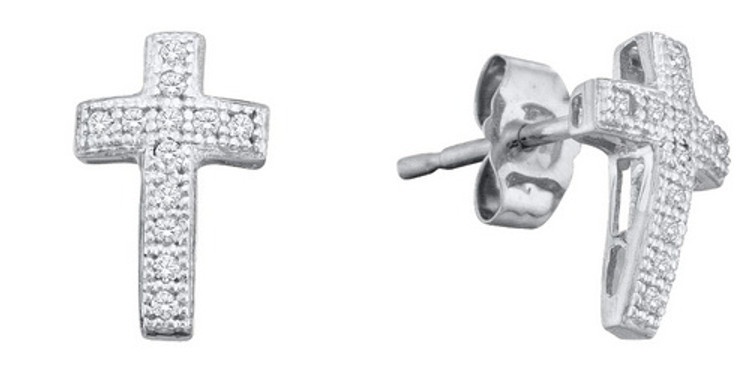 Iced Out Bling 925 Sterling Silver  0.10 ctw Diamond Cross Earrings