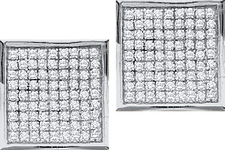 Bling Squares 925 Sterling Silver 0.05ctw Diamond Micro Pave Earrings