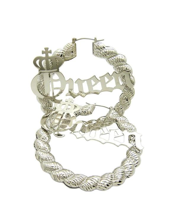 Silver Queen Big Hoop Pinhatch Rope Style Door Knocker Earrings