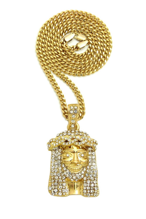 14k Gold Lil Yachty Inspired Hip Hop Bling Jesus Piece Chain