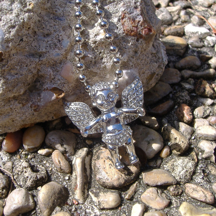 Open Arms Simulated Diamond Angel Cherub Pendant
