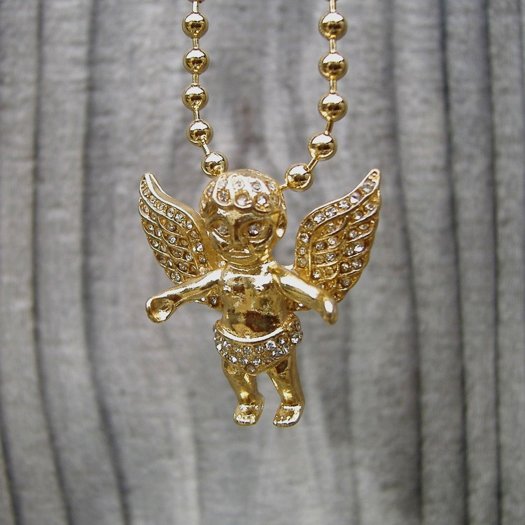 14k Gold Open Arms Simulated Diamond Angel Cherub Pendant