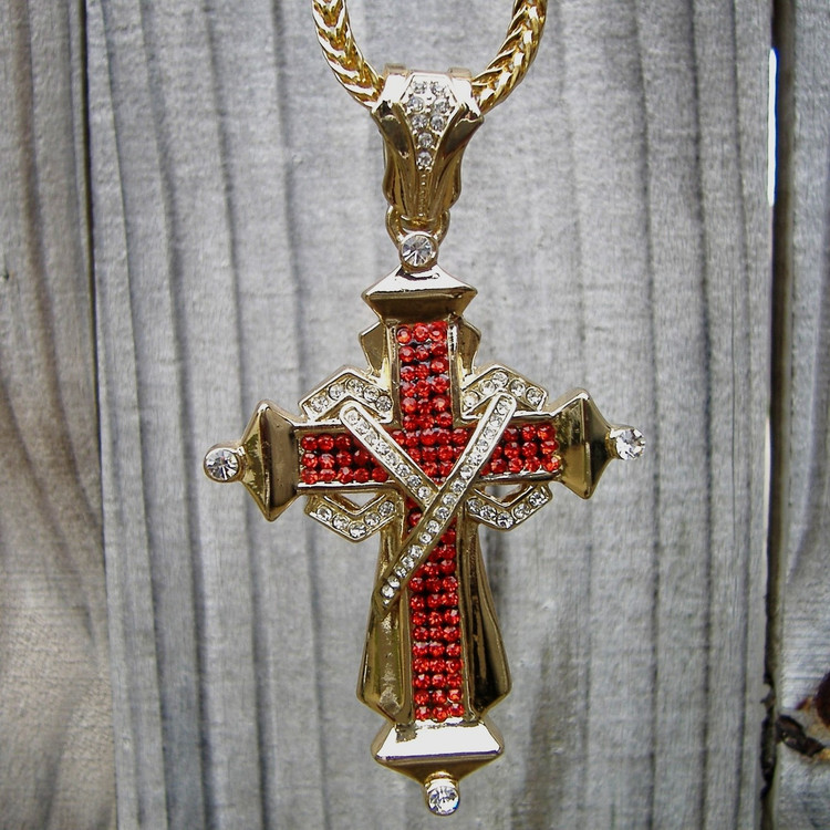 14k Gold Ribbon Cross Pendant
