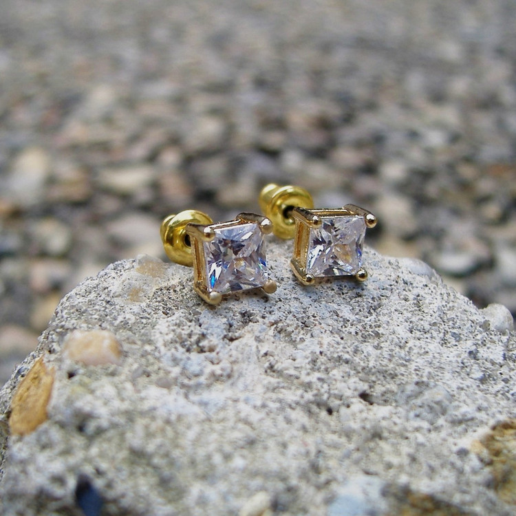 5mm Princess Cut Earrings