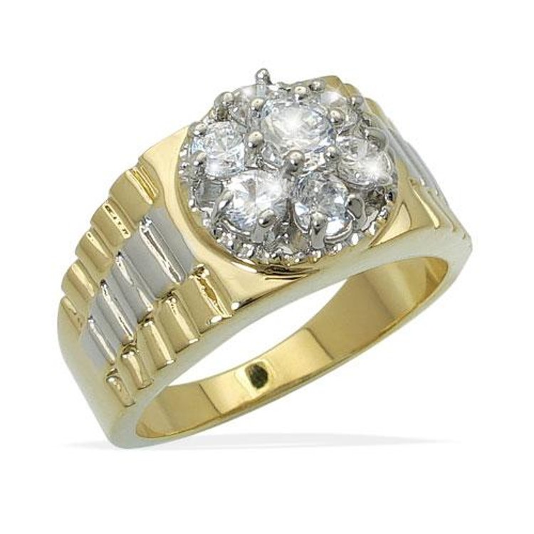 Simulated Diamond Cluster Stone Ring