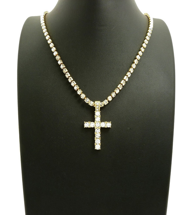 Iced Out Cross Prong Set Diamond Cz Stone Chain
