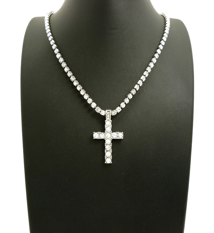 Silver Iced Out Cross Prong Set Diamond Cz Stone Chain