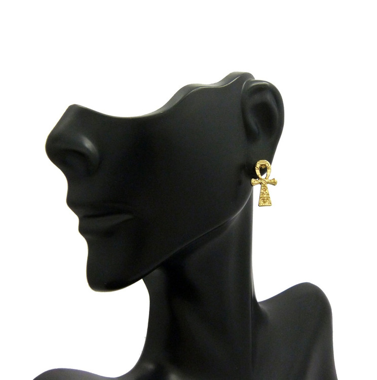 Hieroglyphics Gold Ankh Cross African Egyptian Earrings
