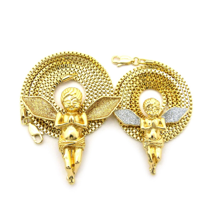Crushed Ice Angel Wings Cherub Pendant Set