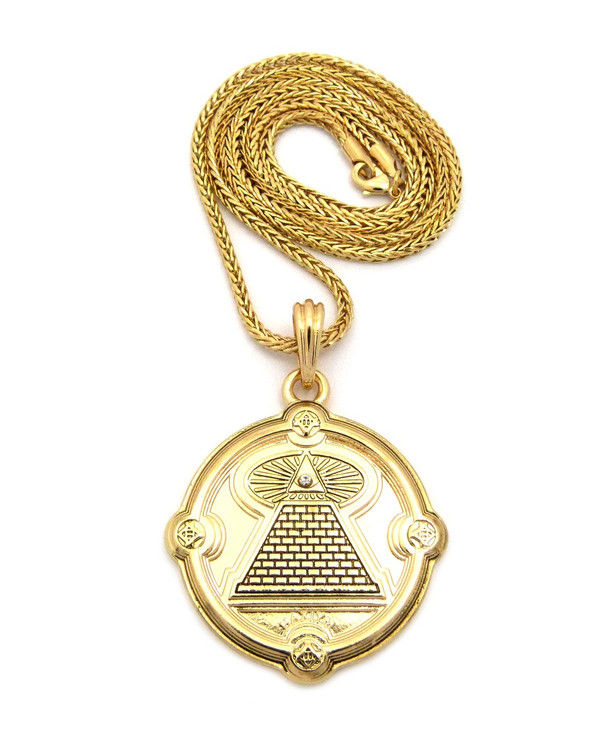 All Seeing Eye Pyramid Hip Hop Pendant