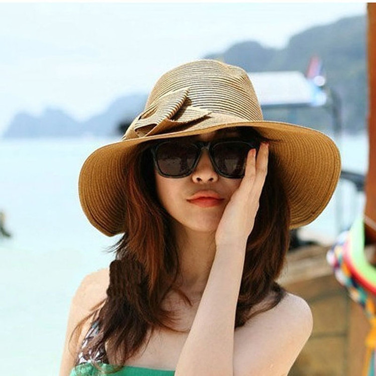 Bohemian Summer Sun Floppy Hat Straw Beach Wide Large Brim Cap