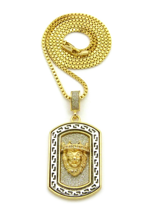 Two Tone Crushed Ice Lion Of Judah Hip Hop Dog Tag Necklace
