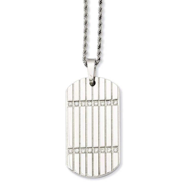 Simulated Diamond Dog Tag Pendant Necklace in Stainless Steel