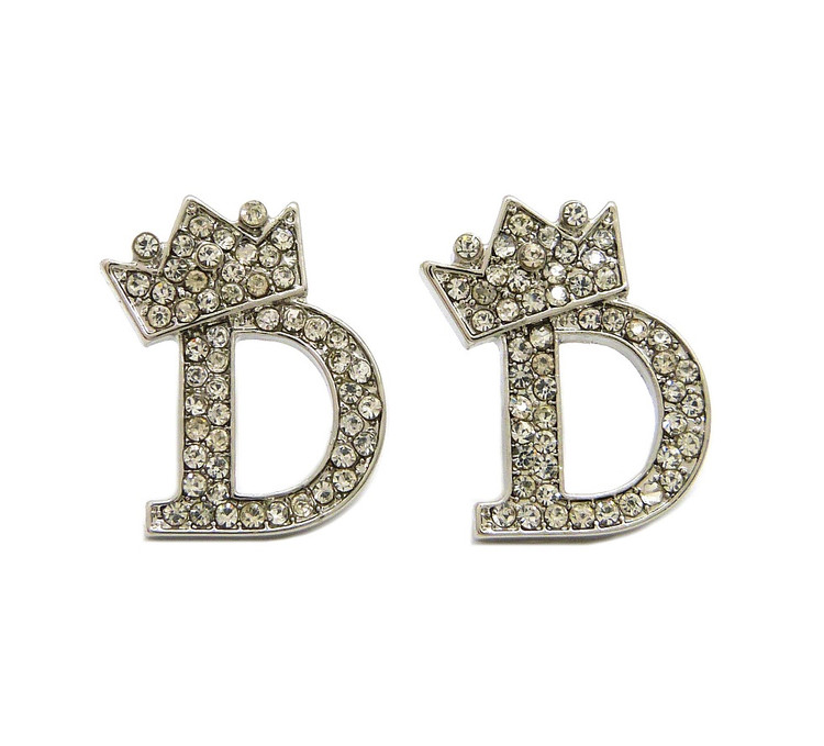 Silver initial D Earrings