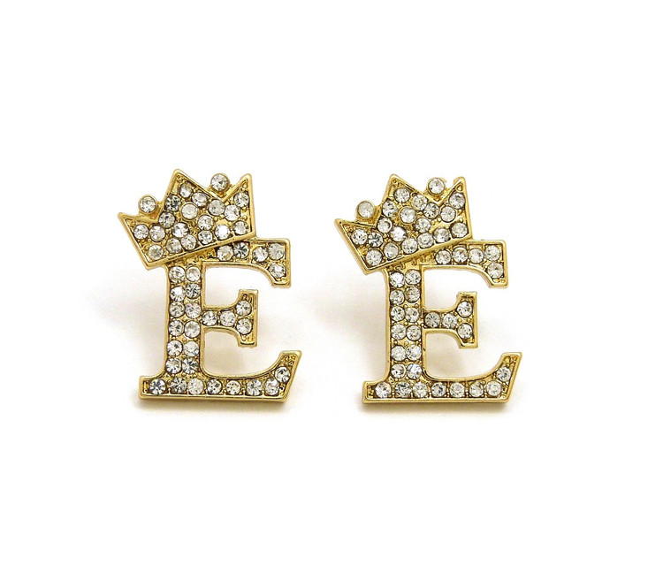 Gold Initial E Earrings
