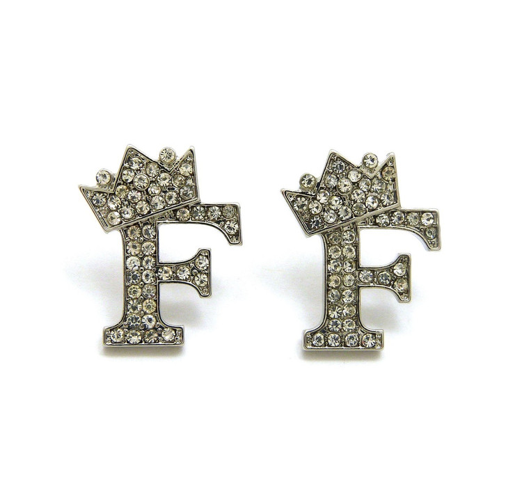 Initial F Hip Hop Earrings